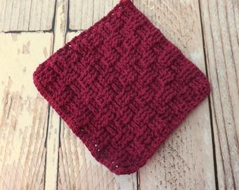 Cotton Dishcloth - 100% cotton dishcloth - textured wine cotton washcloth - burgundy dishrag - basket weave washrag - housewarming gift