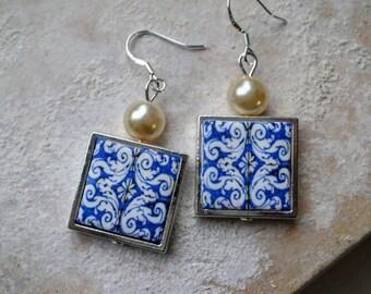 Portugal Blue Antique Azulejo Tile Replica SILVER FRAMED Earrings from Nazaré Chapel of Memory 786SF