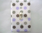 Polka Dots Light Switch Cover Grey Purple - Girls Nursery Decor - Purple Gray Switch Plate - Outlet Cover - Girls Nursery Periwinkle Room
