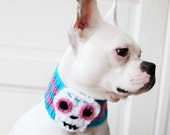 Custom Sugar Skull Dog Neck Warmer - Dog Scarf - Pet Clothing - Dog Clothing - Dog Gift - Sugar Skull Accessories - Dia de los Muertos