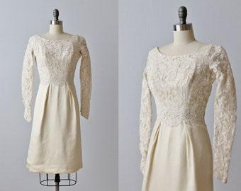 Vintage 1960s Lace Knee Length Wedding Dress /  Long Sleeves / Short Wedding Dress / Meet Me at Noon