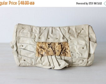 SALE Vintage 1980s Grey Leather Clutch Purse / Over Sized Clutch / All Sewn Up New York / Scrapebook Clutch Purse
