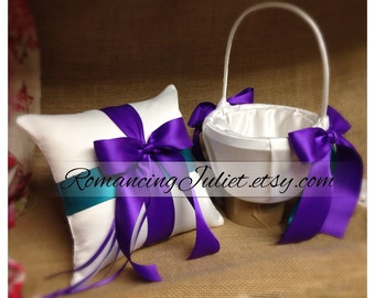 Romantic Dual Color Satin Ring Pillow and Flower Girl Basket Set...You Choose the Colors...shown in white/royal purple/teal