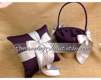 Custom Colors Satin Elite Ring Bearer Pillow and Flower Girl Basket Set...You Choose the Colors...shown in eggplant purple/silver gray