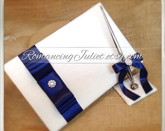 Lovely Satin and Lace Wedding Guestbook Set with Vibrant Rhinestone Accent..You Choose Your Colors..Shown in white/navy blue