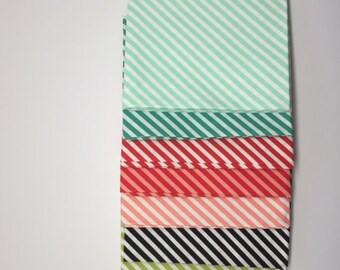 SUMMER SALE - 3/4 Yard Bundle (7) - Handmade Binding Bias Stripes - Bonnie and Camille for Moda Fabrics