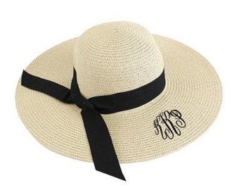 Personalized Beige Black Ribbon Floppy Hat