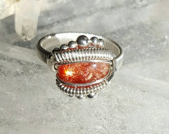 Sunstone Sterling Wire Wrap Ring