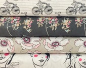 Set of 6, Art Gallery fabrics, Cherie by Frances Newcombe, your choice of cut (fat quarter, half yard, or yard cut)