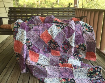 Quilt, king queen full twin, Rag Quilt, YOU CHOOSE SIZE, Dark Nights fabrics, outple lavender gray and coral, comfy cozy handmade bedding