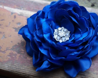 Royal Blue Bright Blue Flower Brooch or Hair Clip with Crystal Bead