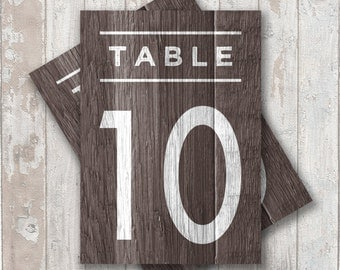 Table Numbers, DIY PDF files.... Barn Wood