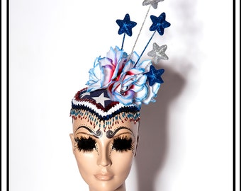 SALE 15 % OFF SALE   Fireworks… America Themed Headdress with Stars and Stripes in Red White Blue and Silver