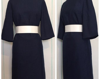 Blue 60s Sheath Dress Size 12