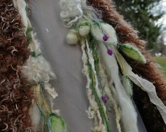 silk scarf lariat fantasy long art yarn garland scarf - solstice snow queen of enchanted leaves