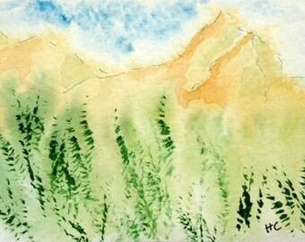 Original Watercolor ACEO Art Card, Mountains, Greenery