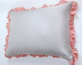 Pillow Case with Ruffle - 100% Silk - Grey with Pink