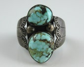 Ring, Size 11.25, Navajo, Foster Yazzie, Sterling Silver, Turquoise Ring, Two Stone, Mens Vintage Silver Ring, Southwestern