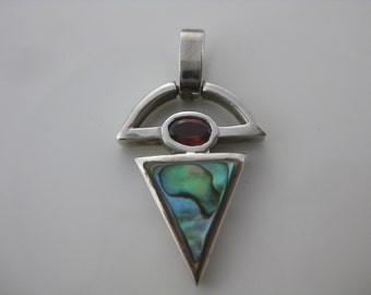 Vintage Sterling Silver Abalone Shell Pendant