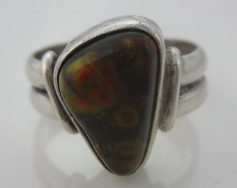 Size 11 1/2 Vintage Oval Fire Agate Sterling Silver Ring