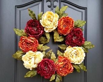 Wreath ON SALE Wreaths, Fall Peony Wreaths, FALL Wreath on Etsy, Wreaths Etsy, Fall Wreaths for Front Door, Peony Wreath