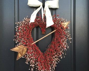 VALENTINE WREATH SALE, Cupid's Arrow, Spring Holiday Heart Wreaths, Valentine's Day, Valentine Decorations, Arrow In Heart, Say I Love You
