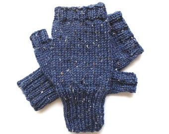 Texting Gloves for Men, Teen Boys, Handknit Fingerless Gloves, Hand Warmers, knitted gloves, men's mitts, Peruvian wool, blue tweed, size S