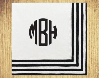 Black Stripe Border Cocktail Napkins: Your Choice of Monogram and Ink Color