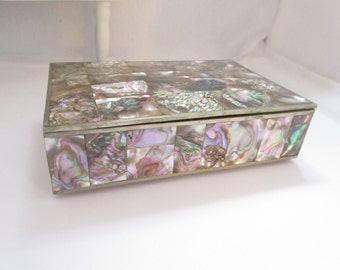 Vintage Mid Century Abalone Box Large Made In Mexico Silver Plated Brass  Shell Smoking Box Trinket Box With Rosewood Insert Cigarette Case