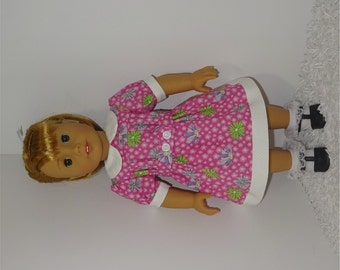Pink Flowered Belted Dress, Fits 18 Inch American Girl Dolls