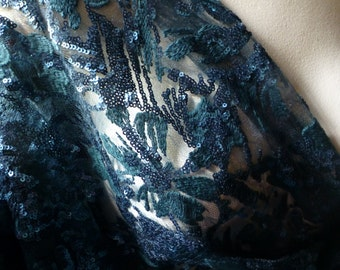 TEAL Beaded Lace for Mermaid Costumes, New Years Eve, Mother of the Bride, Bridal, Lyrical Dance, Costume Design