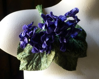 Deep Blue Velvet Millinery Violets for  Bridal, Boutonnieres, Neo Victorian, Steampunk, Millinery, Corsages MF 200