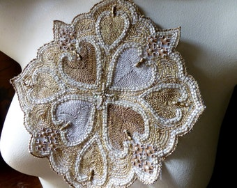 Beaded Applique Exquisite for Bridal, Handbags, Belly Dance Costumes, Home Decor.