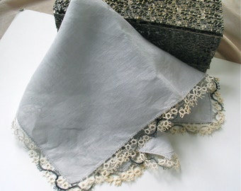 Vintage  Linen Handkerchief in Gray with Tatted Lace Trim in Variegated Charocal Grey and Natural