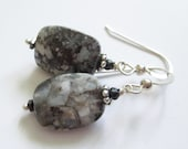 Winter Landscape, sterling and stone earrings, hematite, sage amethyst, pyrite, february birthstone