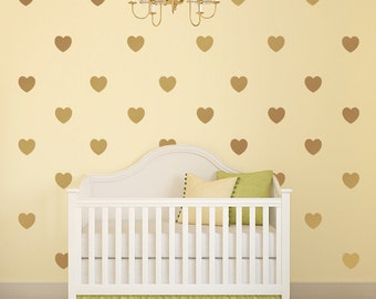 Gold decals, gold heart vinyl wall decals, nursery decor, heart stickers, confetti wall decals, heart wall art