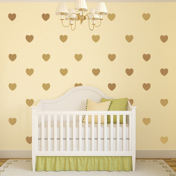 Gold decals gold heart vinyl wall decals nursery decor for Cute gold heart wall decals