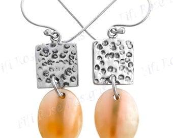 "1"" Gold Abalone Shell 925 Sterling Silver Drop Earrings"