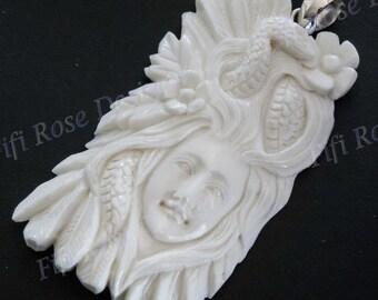"""2 3/4"""" Handmade Snake Goddess Bison Bone 925 Sterling Silver Pendant"""