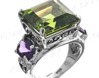 Handcrafted 7ct Peridot And Amethyst Gemstone 925 Sterling Silver Us 8 Ring