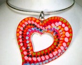 Heart Painted Pendant, On a Silver Neckring, OOAk Fun Piece by Rachelle Starr