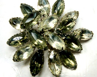 Gray Jeweled GLASS Pin, SWAG JOOLS,  Subtle 2 Tone Greys in This Glam Gaudy Brooch , 1960s, Prong Set Rhinestones