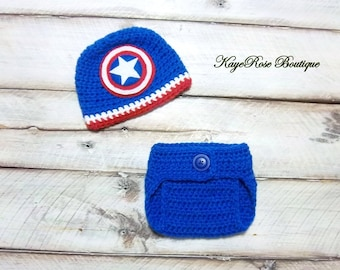 Captain America Inspired Newborn to Three Month Old Baby Boy Crochet Hat and Diaper Cover Set Red White and Blue