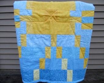 Baby Quilt - Modern Baby Quilt - Baby Boy Quilt - Girl Quilt - Yellow Sun Quilt - Blue Baby Blanket - Boy Baby Blanket - Blue Toddler Quilt