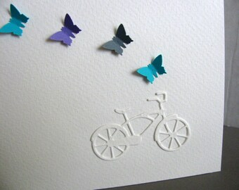 Bicycle with Mini Butterflies Creamy Ivory Watercolour Card. Bon Voyage, Life is an Adventure. Teal, Purple, Gray or YOUR Colour Choices