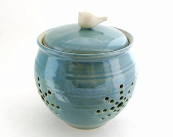 Large Garlic Keeper // Garlic Jar in Robins Egg Blue with a White Bird