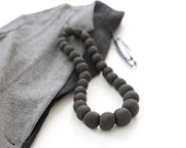 Adele Felted Bead Necklace in Charcoal Gray