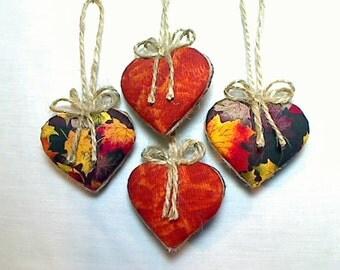 Miniature Fall Heart Ornaments | Fall Decor | Handmade Gift | Party Favor | Thanksgiving Decor | Halloween | Wreath Accent | Set of 4 | #1