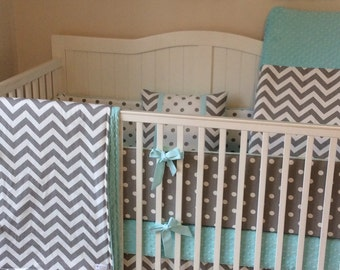 Deposit Crib Bedding Complete Nursery Set Gray and Light Aqua Mint Made to Order