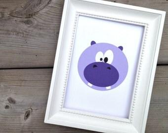 Purple Hippopotamus Print, Hippo Poster, Childrens Art Print, Kids Wall Art, Cute Nursery Decor, Zoo Animal Poster